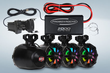 2000 W Off-Road Audio Amplifier and Tower Speaker Kit