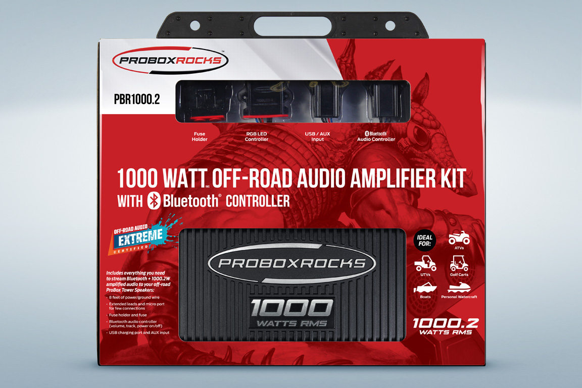 Off Road Amplifier Kits Micro Fuse Box Pbr10002 1000 W 2 Channel Audio Kit With Bluetooth Controller