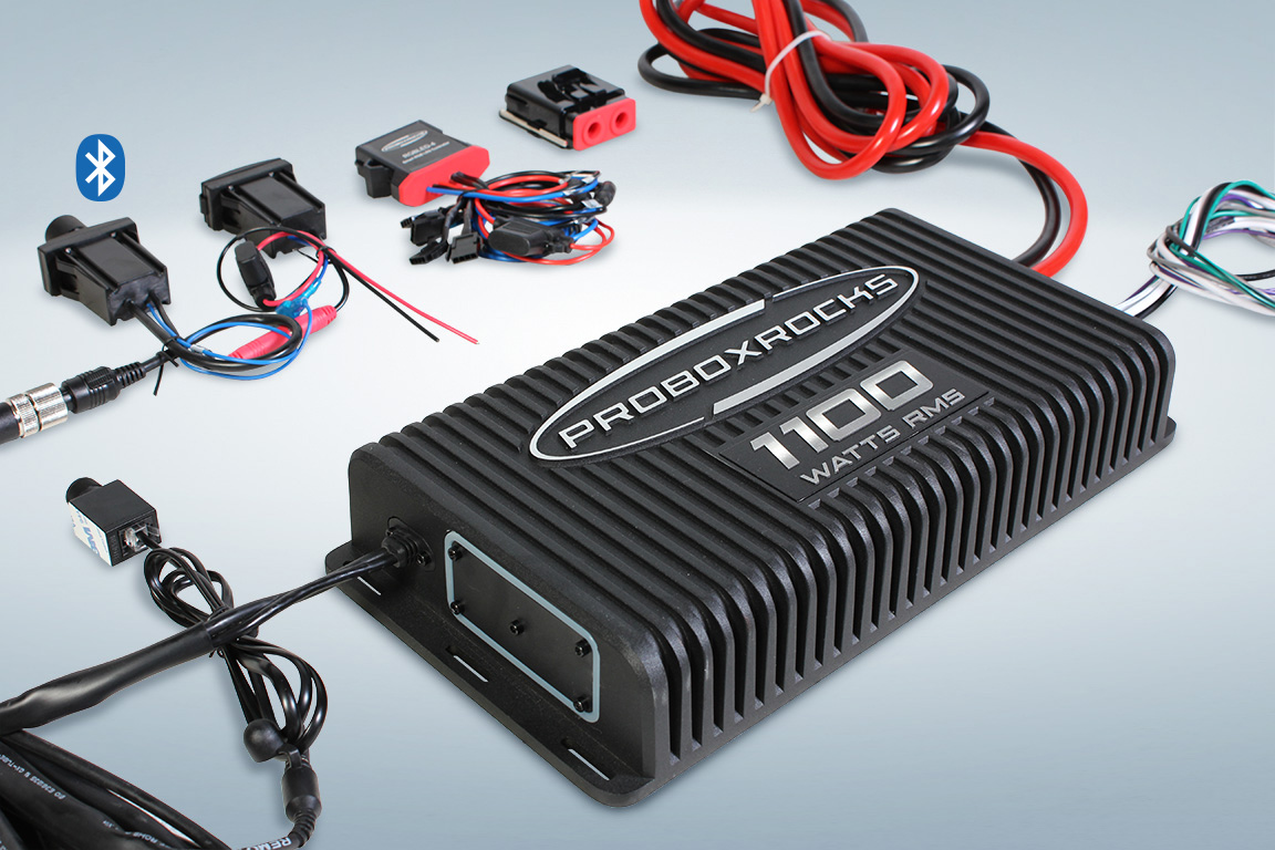Pbr11005 Chevy Truck Aux Fuse Box 1100 W 5 Channel Off Road Audio Amplifier Kit With Bluetooth Controller