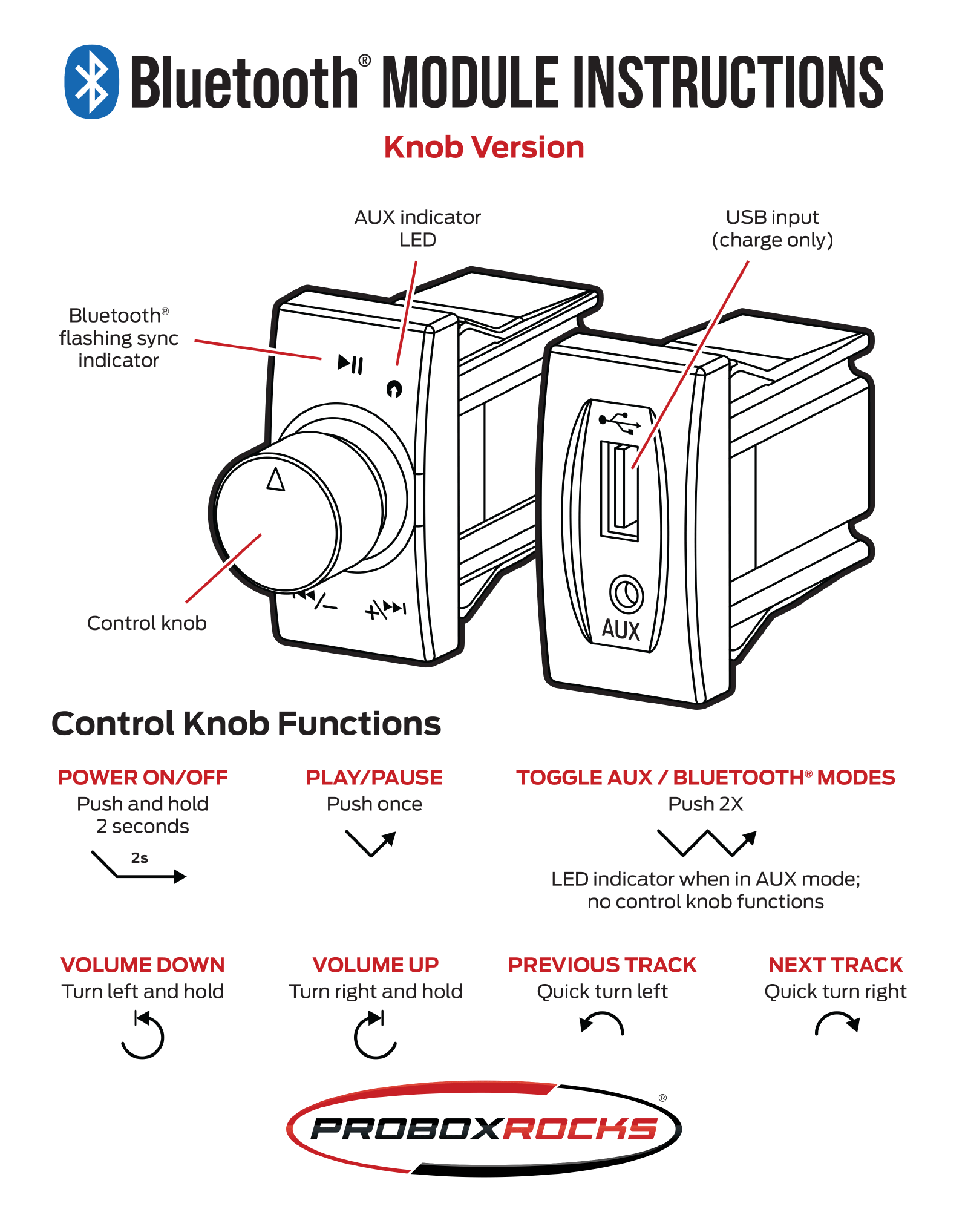 Bluetooth knob module instructions